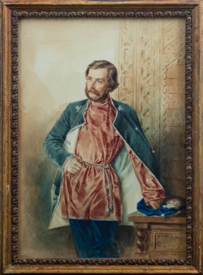 Старинная акварель «Портрет художника Михая Зичи» 1853 года