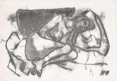 Монотипия Спящая художник Колли
