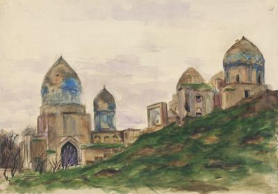 Акварель Средняя Азия Заброшенный город художницы Магидсон