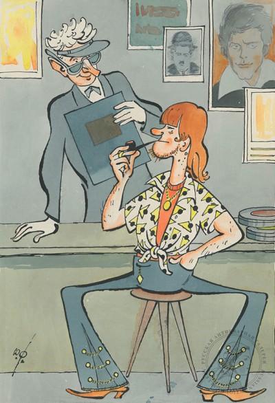 Рисунок «Сценарий о современной молодежи». Карикатура для журнала «Крокодил»