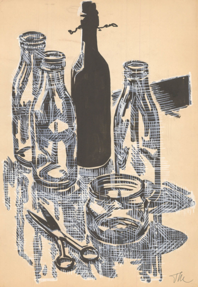 Тевосян Натюрморт с бутылками и ножницами