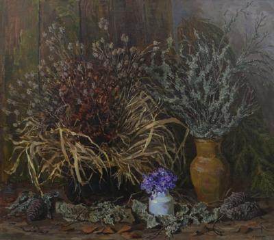 Натюрморт «Травы, мхи и подснежники»