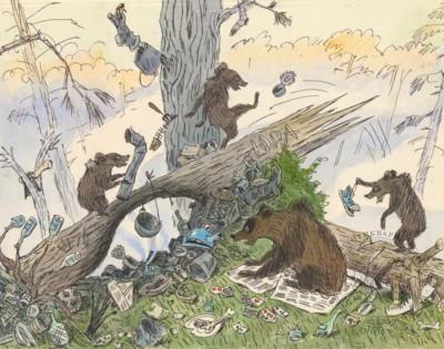 Рисунок «Утро в сосновом лесу». Карикатура для журнала «Крокодил»