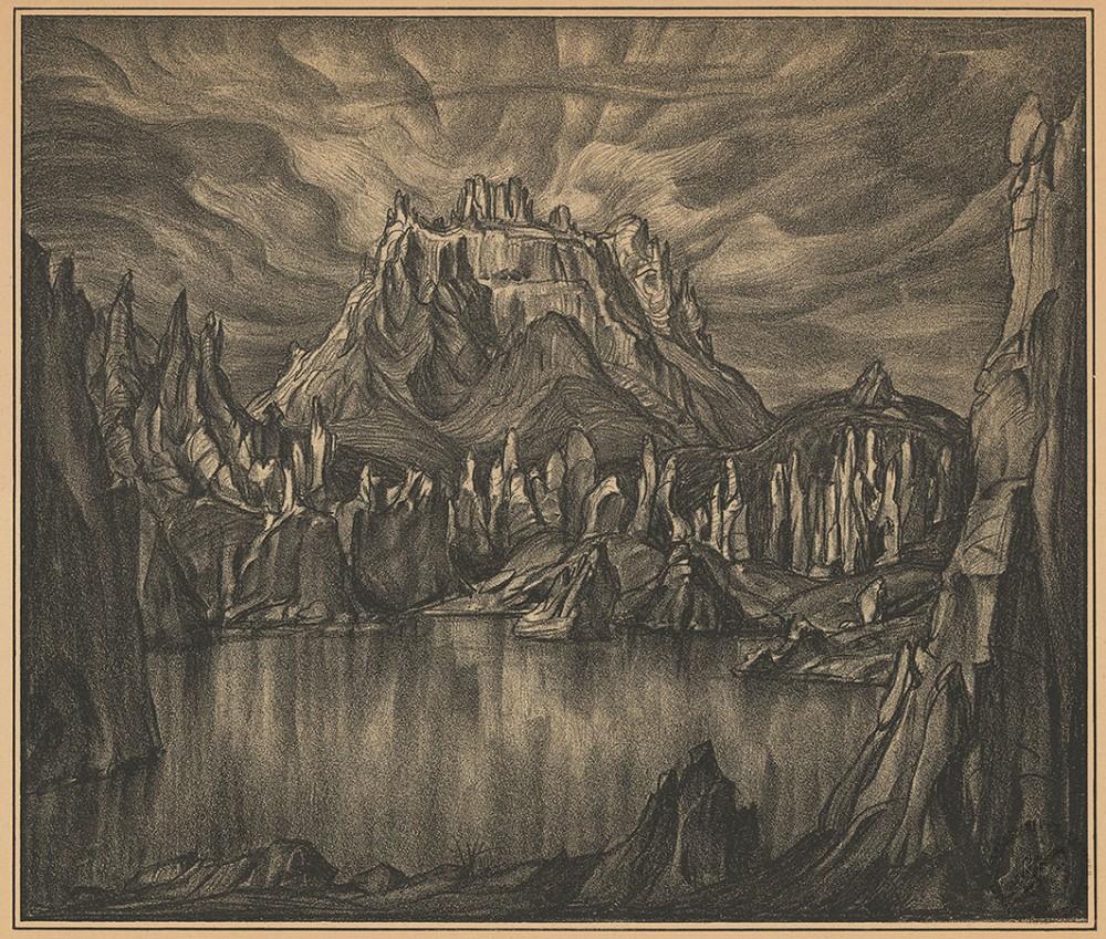 Автолитография «Среди скал»
