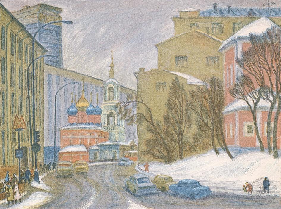 Автолитография «Улица Варварка» из серии «Старая Москва»