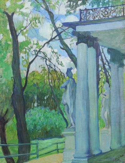 Старинная картина «Весенний день. В царскосельском парке 1908 год».