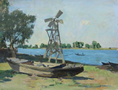 Картина «Ветряк и лодка. Село Полдневое»