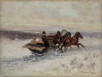 Картина «Тройка на зимней дороге»