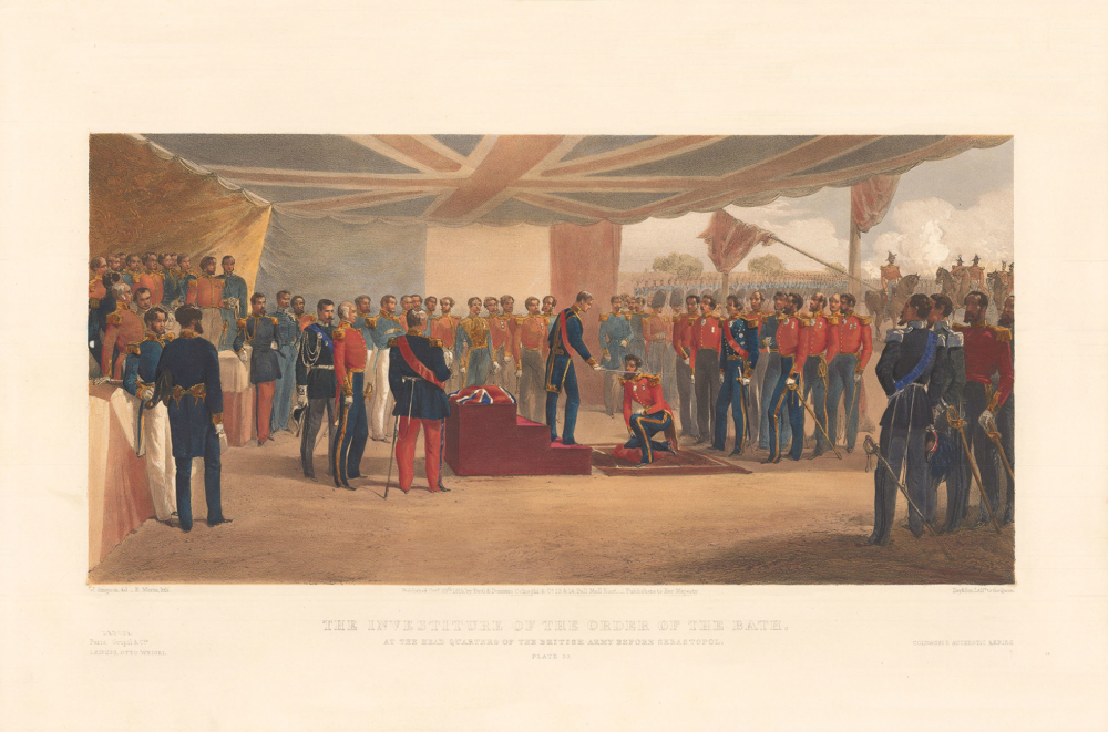 Литография «Вручение ордена Бани в центральных казармах Британской Армии под Севастополем»