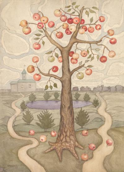 Акварель «Яблоня»