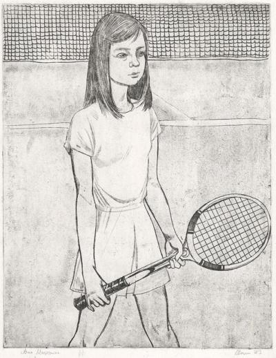 Офорт Юная теннисистка художник Мазурин Г.А