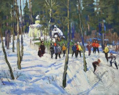 Картина «Зима в Абрамцево»
