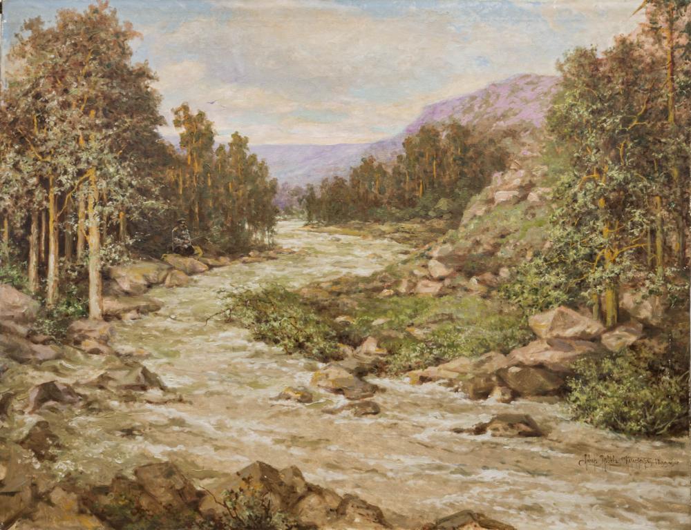 Картина «Пейзаж с рыбаком»