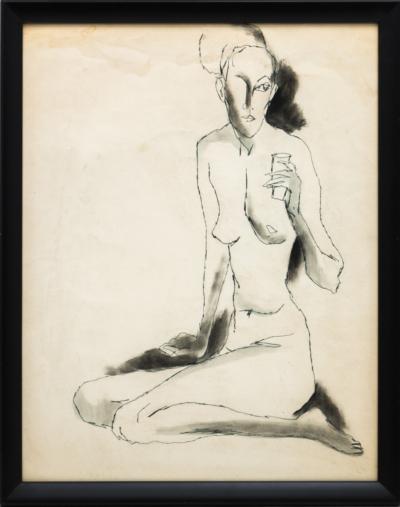 Рисунок «Обнаженная со стаканом»