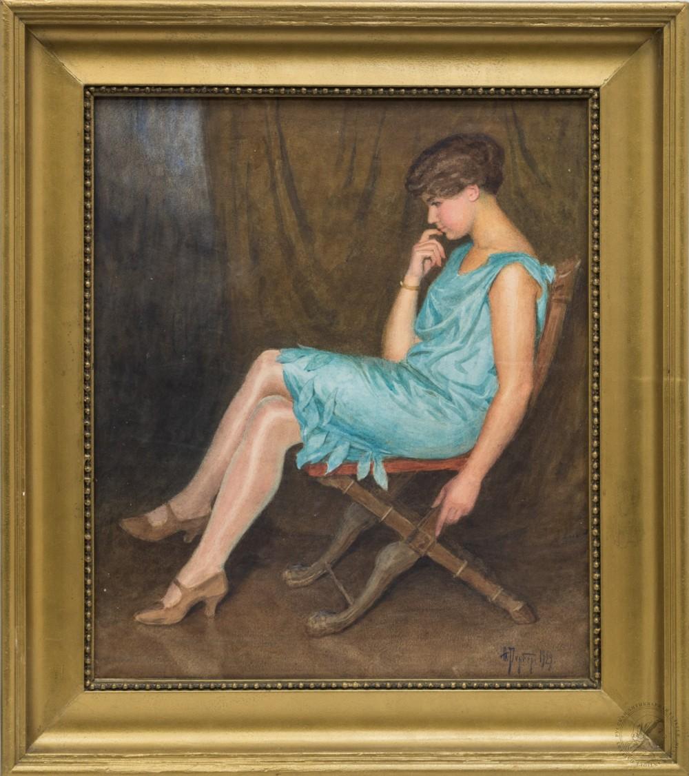 Картина «Портрет девушки в голубом платье»