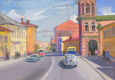 Гуашь «Московский пейзаж с церковью»