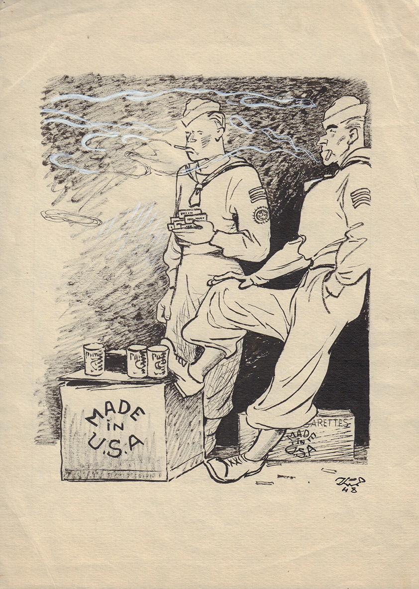 Рисунок «Made in USA». Карикатура для журнала «Крокодил»