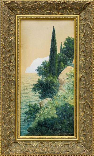 Крымский пейзаж с кипарисами