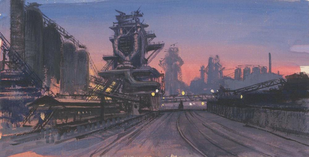 Рисунок «Сталелитейный завод». Иллюстрация к повести С.С. Гарина «Про смелых людей и железную гору»