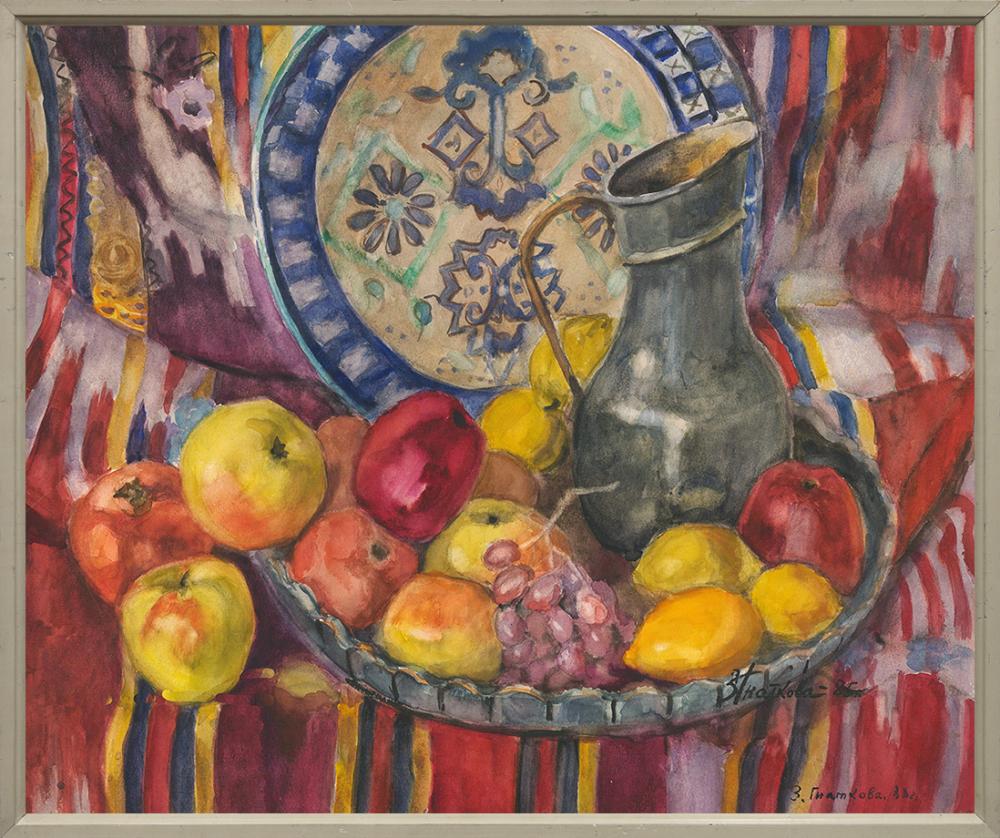 Акварель «Натюрморт с виноградом» из серии «Таджикский натюрморт»