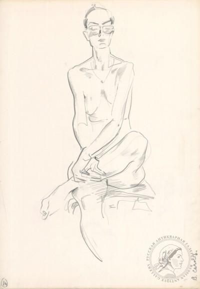 Рисунок «Сидящая обнаженная». №50 из серии «Обнаженные модели»
