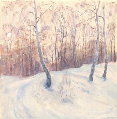 Темпера «В зимнем лесу»
