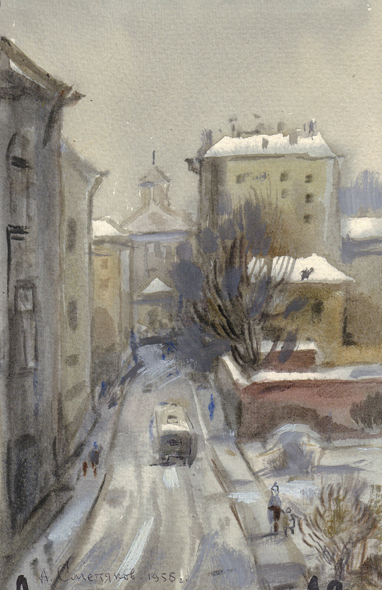Акварель «Лялин переулок из окна издательства «Наука»