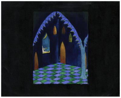 Рисунок «Эскиз театральной декорации. Замок»