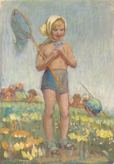 рисунок Девочка с сачком художник Незнайкин