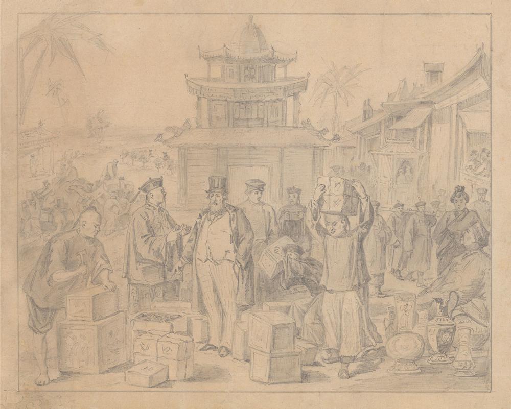 Рисунок «Русские купцы закупают чай в Китае»
