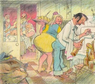 Рисунок «В семье официанта» Карикатура для журнала «Крокодил»