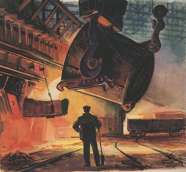 Рисунок «В сталелитейном цеху». Иллюстрация к повести С.С.Гарина «Про смелых людей и железную гору»