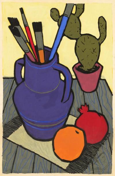Натюрморт Кувшин с кактусом и фруктами художника Тевосяна