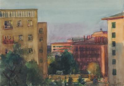 """Акварель """"Москва. Вид из окна"""""""