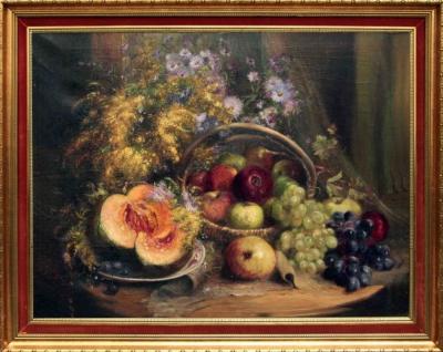 Старинный натюрморт с дыней, яблоками и виноградом