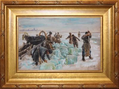 Заготовка льда на Неве художник Лебедев