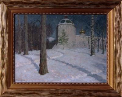 Лунная ночь в Звенигороде художник Леднёв - Щукин