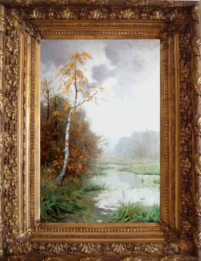 Старинная картина Осенний пейзаж художник Пчелин