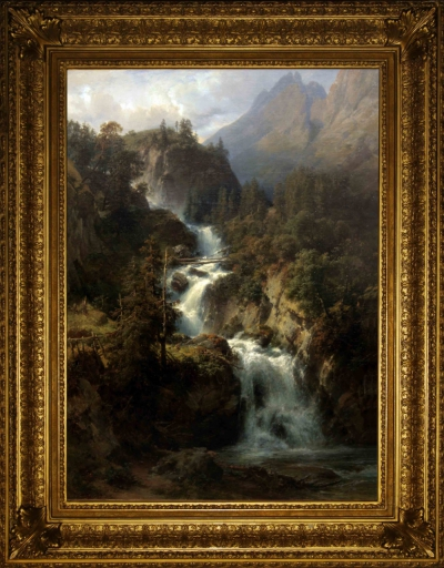 Антикварная картина Водопад в горах в горах Швейцарии