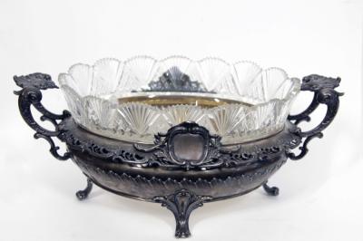 Ваза серебряная старинная для фруктов с хрустальной чашей