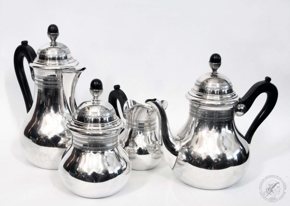 Чайно-кофейный сервиз из 4х предметов с деревянными ручками и навершиями