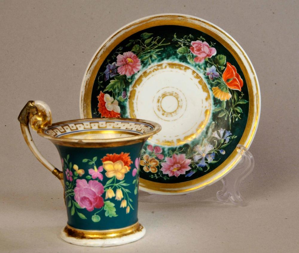 Чайная пара с цветочный орнаментом