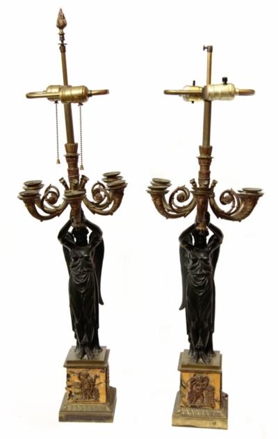 """Парные канделябры на пять свечей с крылатыми патинированными фигурами """"Ника"""" в стиле Ампир"""