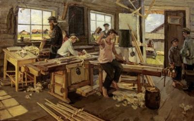 картина в столярной мастерской Расторгуев