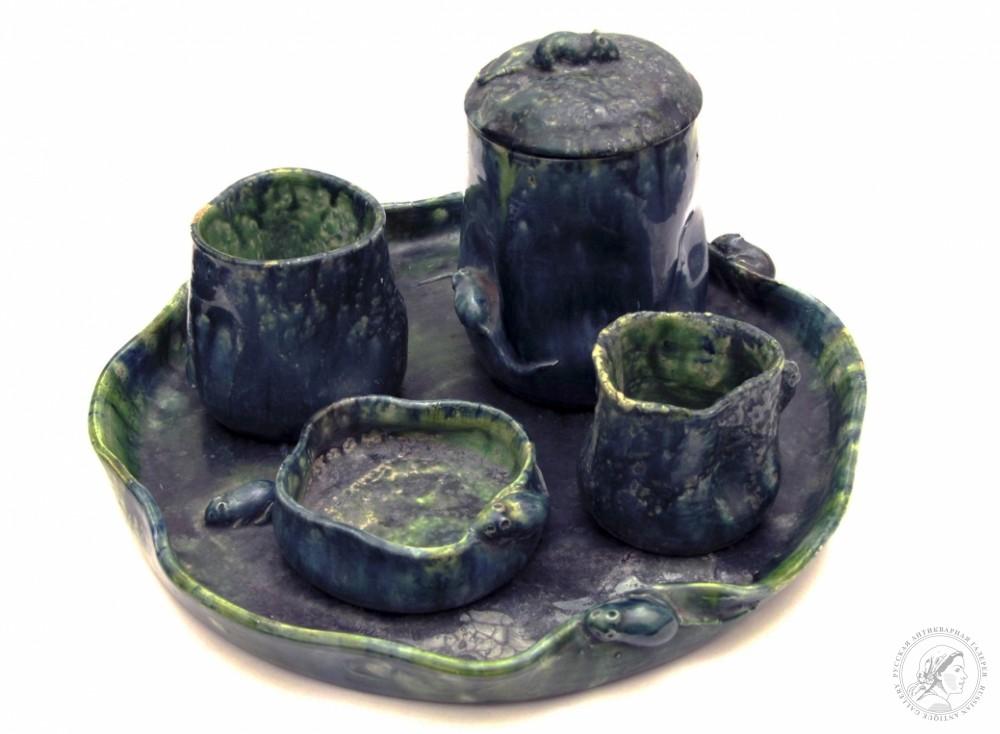 Набор питейный керамический с мышками с цветным поливом в стиле модерн