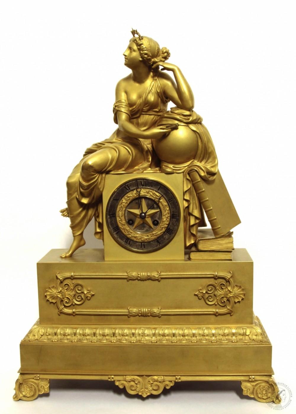 Часы старинные каминные бронзовые золочёные