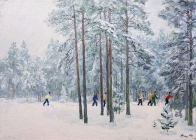 Картина Лыжники художника Солоницина