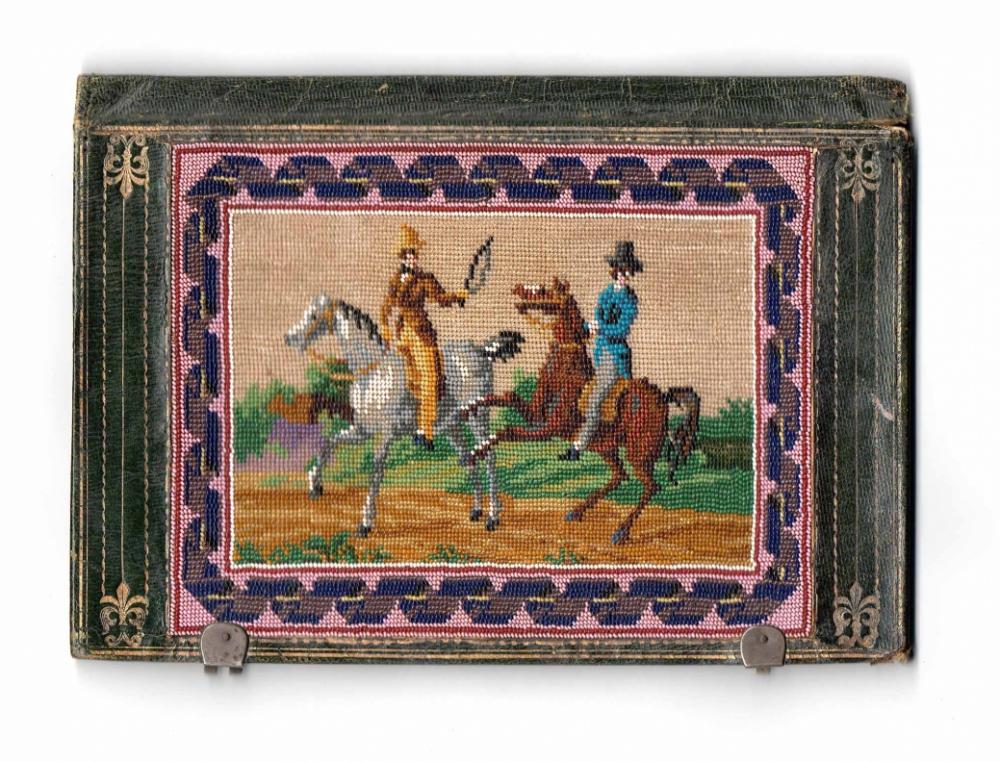 Старинный кошель с картинками из мелкого бисера