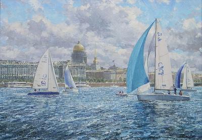 Картина Яхты художник Мальков