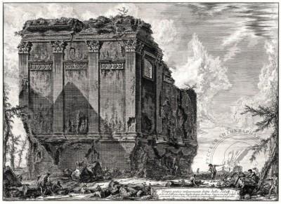 Гравюра Античный храм